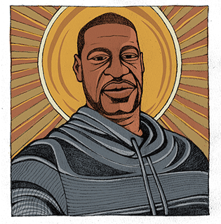 A black man wearing a gray and black hoodie looks directly at the viewer. He stands in front of radiant light.