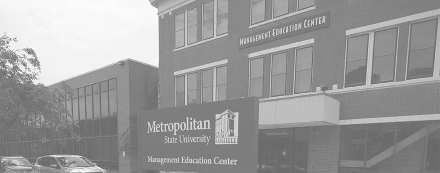 black and white photo of Metro's Management Education Center in Minneapolis