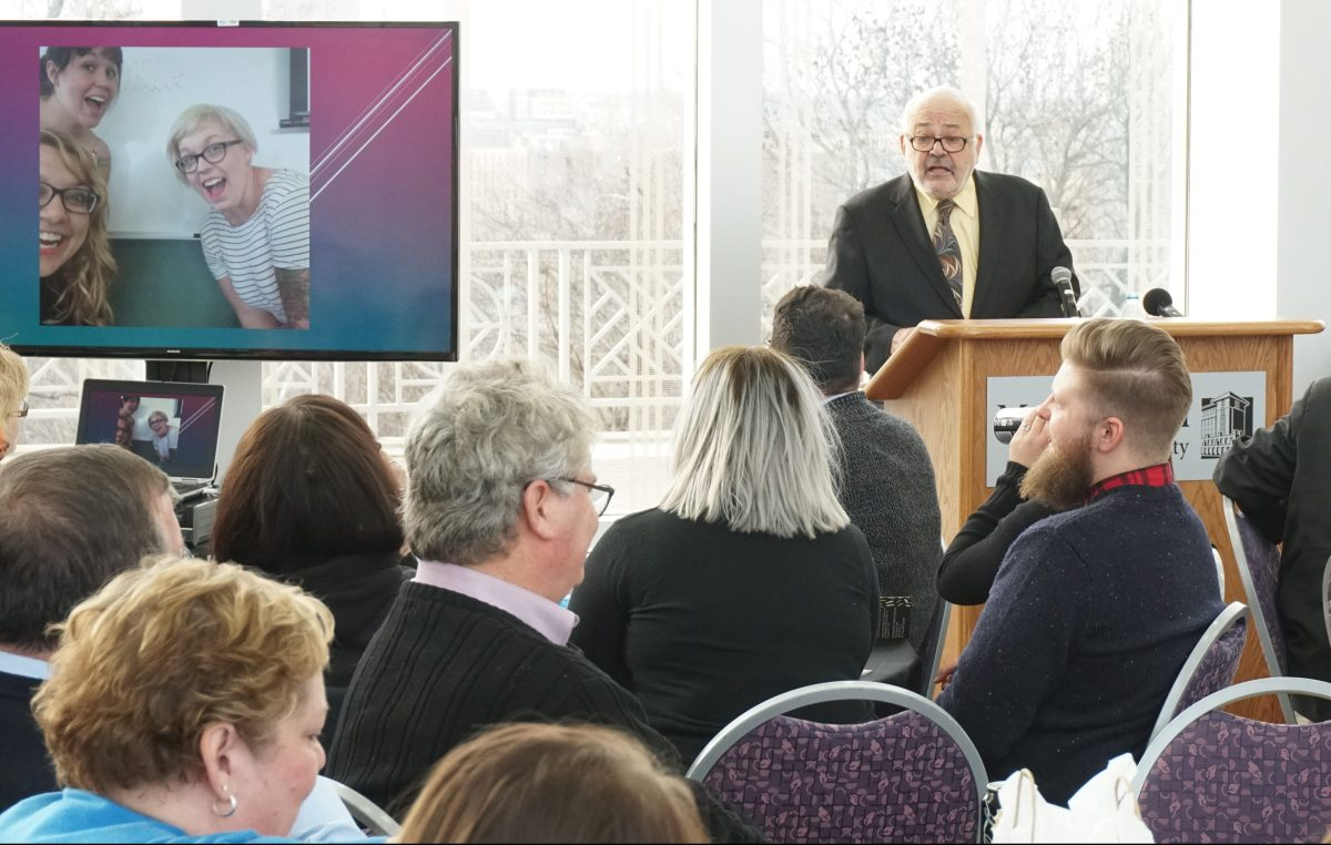 Professor Wy Spano speaks at a ceremony for Metropolitan State's first cohort to graduate from the Master of Advocacy and Leadership program, Dec. 10, 2016. Spano has directed the program since its inception in 2006 and is retiring.