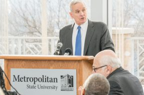 Gov. Mark Dayton, shown in this photo taken Dec. 10, 2016 at Metropolitan State University, announced details of a bonding bill that includes his recommendations for Higher Education Asset Preservation and Renovation (HEAPR) and bonding projects.