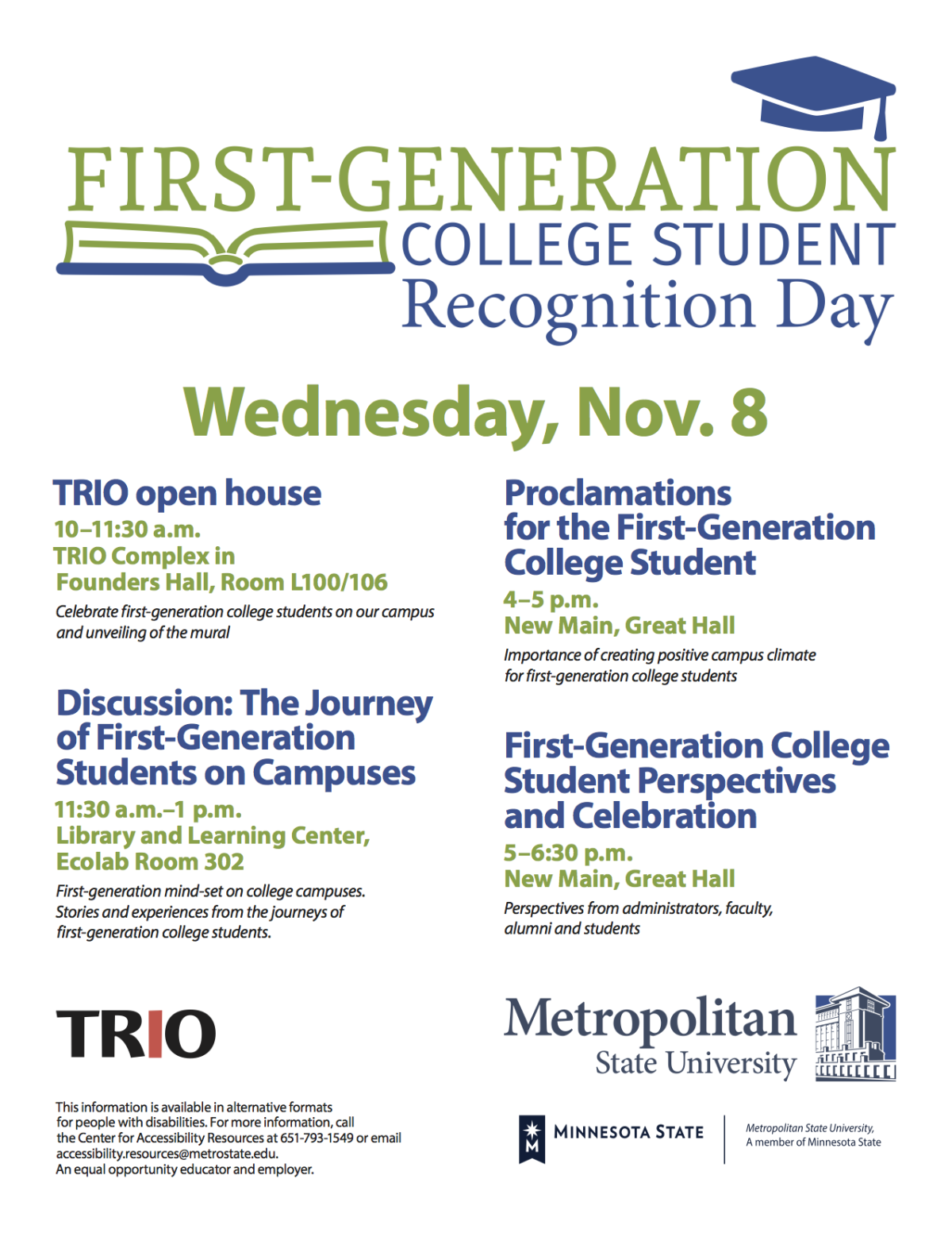 Nov 8 First Generation College Student Recognition Day