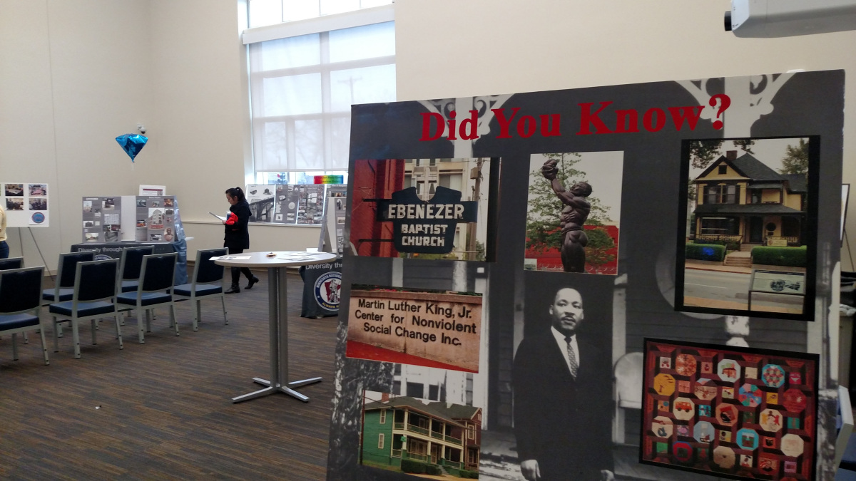 Display celebrating Black History Month and honoring veterans.