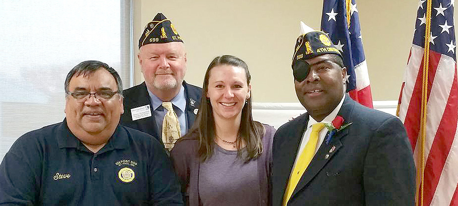 From left, Steve Campos, CIS student and Metropolitan State Veterans Network officer, Bruce Holzschuh, alumni 1995, and coordinator of Veterans and Military Student Services, MSVN Faculty Advisor; Lisa Ghylin, 2012 alumni, 2014 president of the Metropolitan State Veterans Network; Daniel Williams, CIS student, Metropolitan State Veterans Network member. They attended a dinner April 22 in honor of Daniel Williams, who is stepping down after two years as the commander of the 4th District, American Legion. The 4th District is Ramsey County. All four individuals are members of American Legion 3M Post 599.