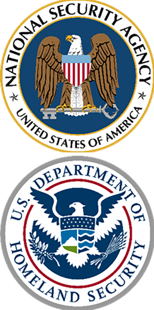 Na National Security Agency (NSA) and the Department of Homeland Security (DHS) Logos