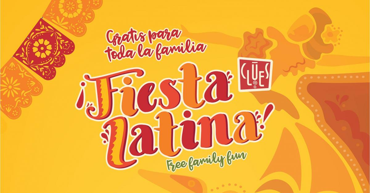 Flyer showing CLUES Fiesta Latina 2018