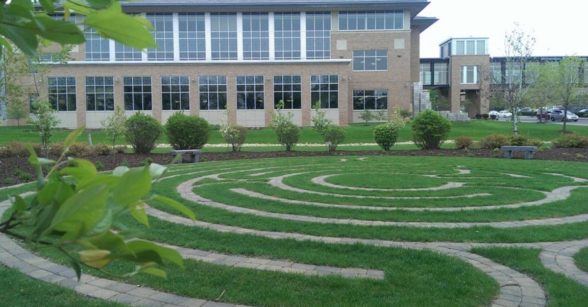 Metro State labyrinth and library building