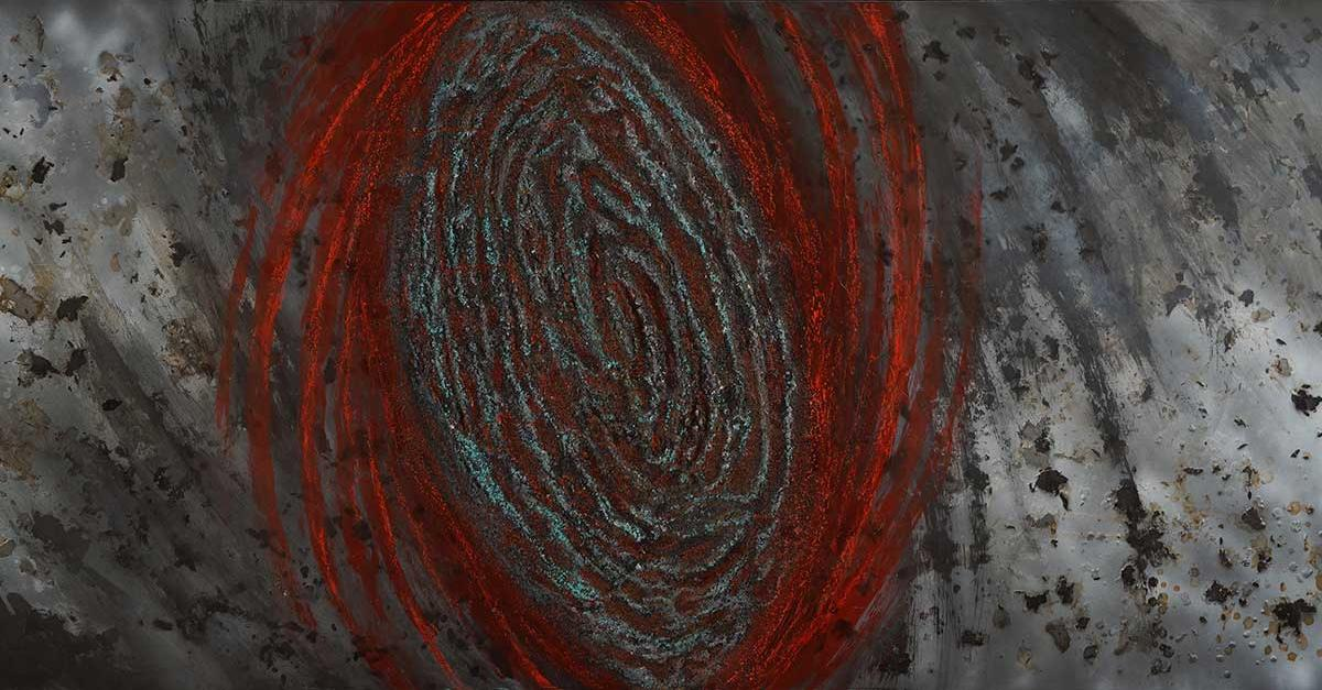 A red and gray swirl (looking not unlike a thumbprint) with red arms coming off of it is centered on a background of bold, irregular white, black and gray strokes.
