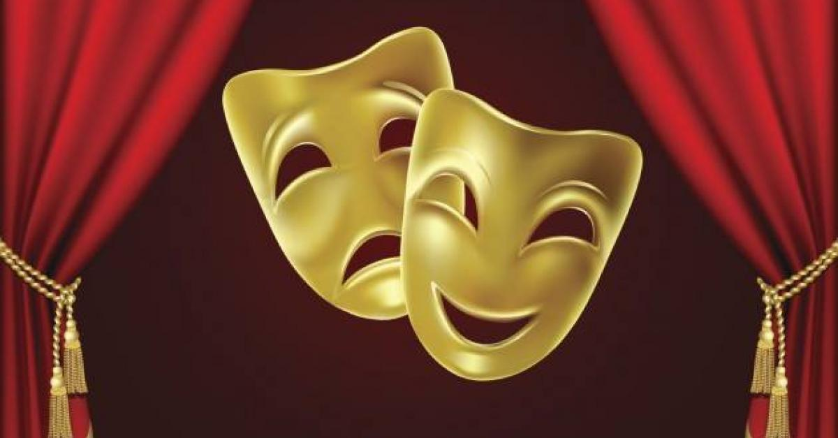 The two drama masks of comedy and tragedy.