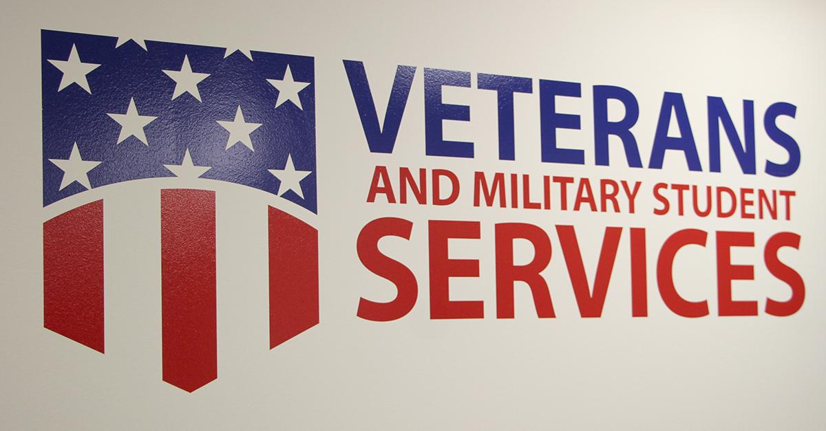 veterans and military student services words and badge shaped flag image