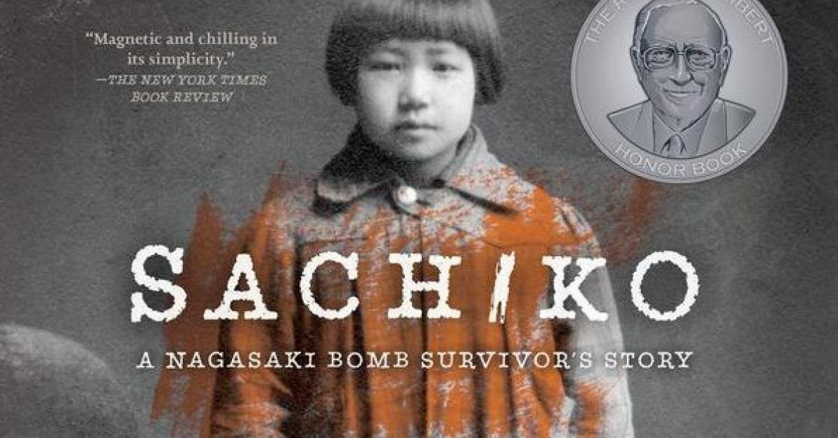 Sachiko book cover showing Japans girl, six years old, standing next to a leather-covered seat.