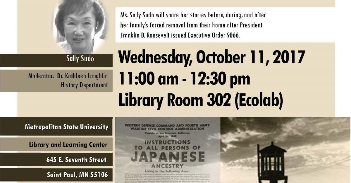 Oct. 11: Sally Sudo to speak on WWII internment camps